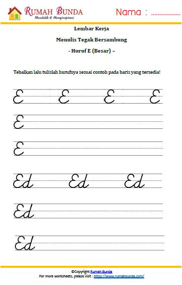 Latihan Menulis Huruf Latin Rumah Bunda