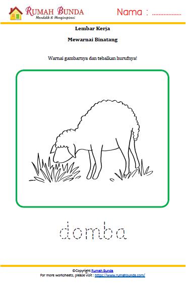 Worksheet Mewarnai Binatang Domba Rumah Bunda